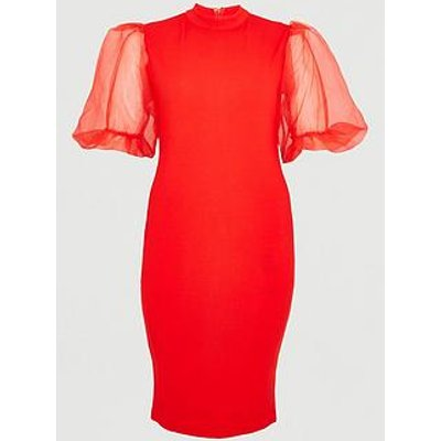 Ax Paris Curve V Neck Organza Puff Sleeve Bodycon Dress - Red