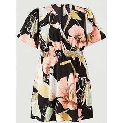 Ax Paris Curve Floral Printed Elasticated Batwing Dress - Navy
