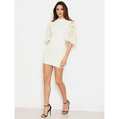 Ax Paris Detail Puff Sleeve Dress - Cream