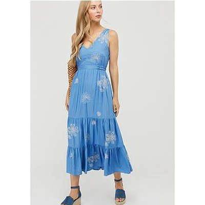 Monsoon Cersei Ecovero Embroidered Dress - Blue