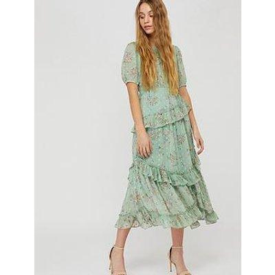 Monsoon Sada Printed Lurex Frill Dress - Green