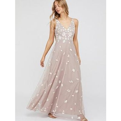 Monsoon Clemence Embroidered Maxi Dress - Pink