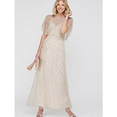Monsoon Florence Embellished Maxi Dress - Nude