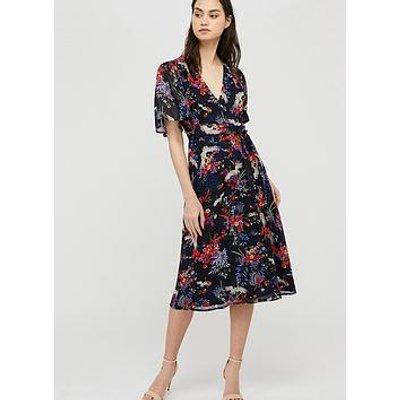 Monsoon Oaklyn Sustainable Print Tea Dress - Navy