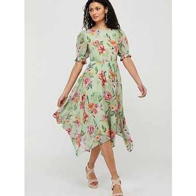 Monsoon Hermione Printed Sustainable Tea Dress - Green
