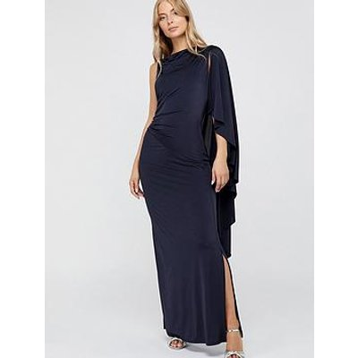 Monsoon Ophelia One Shoulder Cape Jersey Maxi Dress - Navy