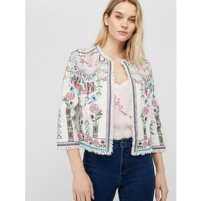 Monsoon El Organic Cotton Embroidered Jacket - Ivory