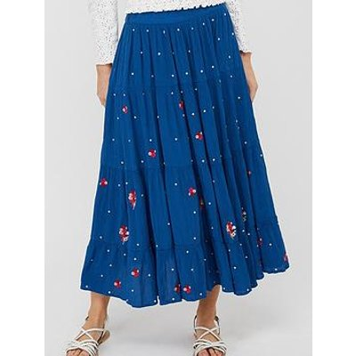 Monsoon Clara Embroidered Ecovero Skirt - Blue