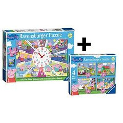 Ravensburger Peppa Pig Jigsaw Twin Pack - 4 In A Box &Amp; Clock Puzzle