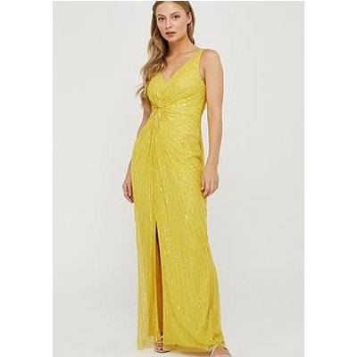 Monsoon Kate Linear Embellished Maxi Dress - Yellow
