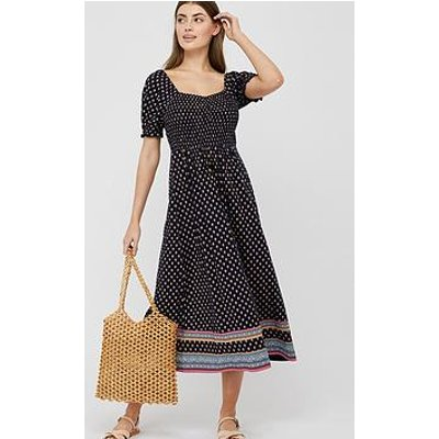 Monsoon Ashleigh Print Shirred Dress - Navy