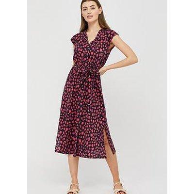 Monsoon Laurena Print Jersey Shirt Dress - Navy