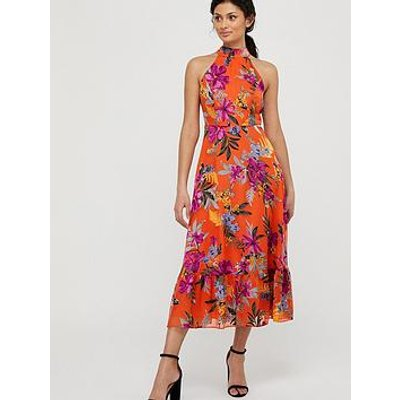 Monsoon Trixie Burnout Tiered Dress - Orange