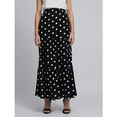 Dorothy Perkins Polka Dot Tiered Maxi Skirt - Black