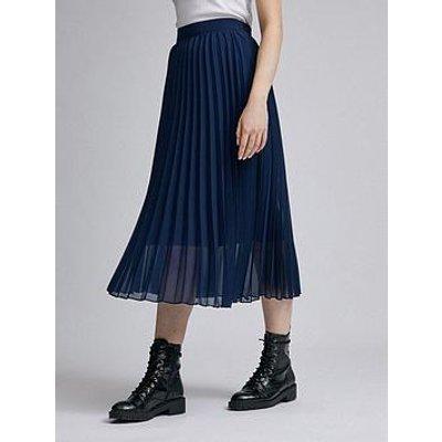 Dorothy Perkins Chiffon Pleated Midi Skirt - Navy