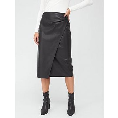 Boss Pu Wrap Pencil Skirt - Black