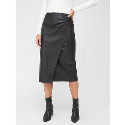 Boss Pu Wrap Pencil Skirt - Black