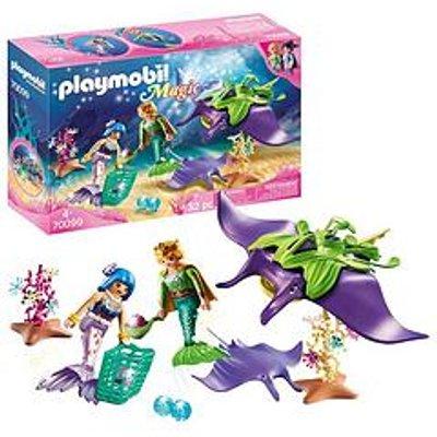 Playmobil Playmobil 70099 Magic Mermaids Pearl Collectors With Manta Ray Family