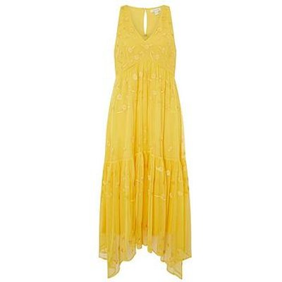 Monsoon Carmela Sustainable Embellished Midi Dress - Yellow