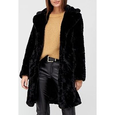 V By Very Faux Fur Texture Coat - Black