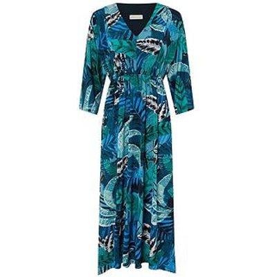 Monsoon Sandra Palm Print Midi Dress - Multi