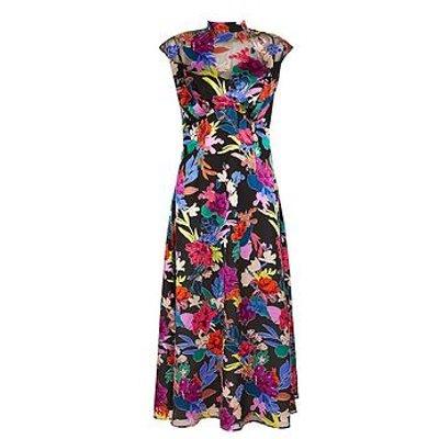 Monsoon Bonnie Floral Burnout Print Dress - Black