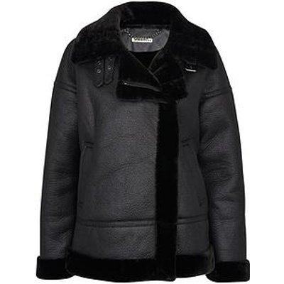 Whistles Faux Fur Ultimate Biker - Black