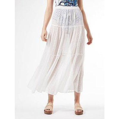 Dorothy Perkins Cutwork Tiered Skirt - Ivory