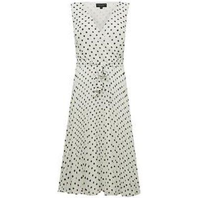 Dorothy Perkins Spot Wrap Pleat Midi Dress - White