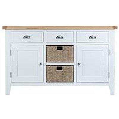 K-Interiors Harrow Ready Assembled Large Sideboard - White/Oak