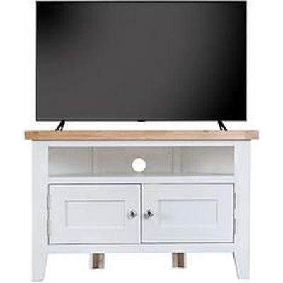 K-Interiors Harrow Ready Assembled Corner Tv Unit - Fits Up To 45 Inch Tv - White/Oak
