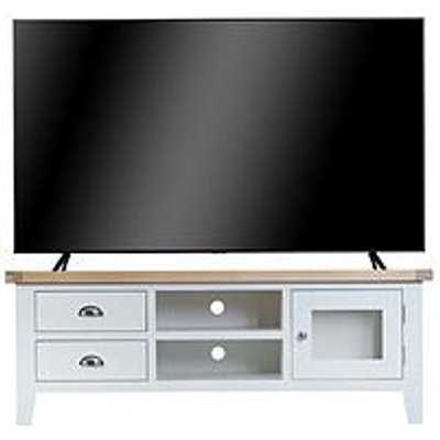 K-Interiors Harrow Ready Assembled Large Tv Unit - Fits Up To 70 Inch Tv - White/Oak