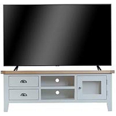 K-Interiors Harrow Ready Assembled Large Tv Unit - Fits Up To 70 Inch Tv - Grey/Oak