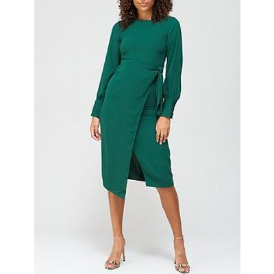 V By Very Tie Waist Midi Dress - Teal