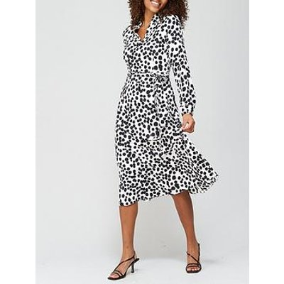 V By Very Notch Neck Tie Midi Dress - Spot Print