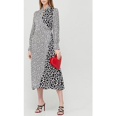 Olivia Rubin Nell Heart Print Midi Dress - Black/White
