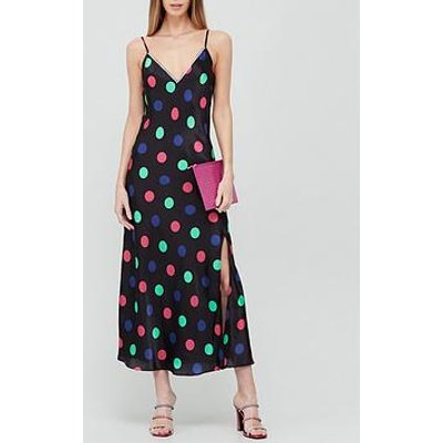 Olivia Rubin Veronica Polka Dot Crystal Detail Slip Dress - Black