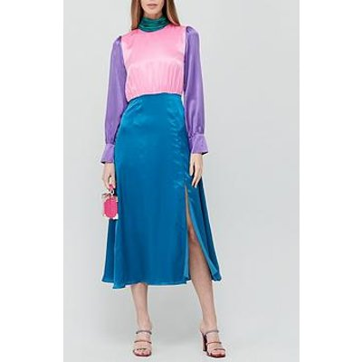 Olivia Rubin Gwen Silk Colourblock Midi Dress - Multicolour