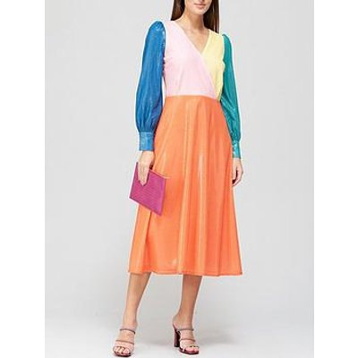Olivia Rubin Danni Colourblock Sequin Midi Dress - Multicolour