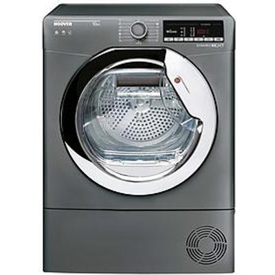 Hoover Dynamic Next Dxoc10Tcer 10Kg Load Aquavision Condenser Tumble Dryer With One Touch - Graphite/Chrome