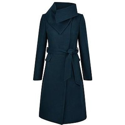 Monsoon Keryn Wrap Collar Belted Coat - Teal