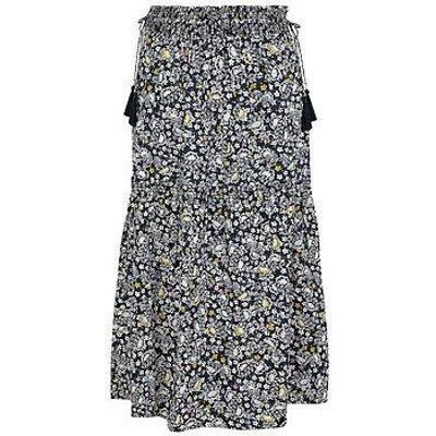 Monsoon Floral Print Organic Cotton Midi Skirt - Navy