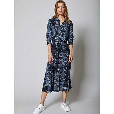 Mint Velvet Venus Animal Print Belted Midi Shirt Dress - Blue
