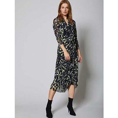 Mint Velvet Charlotte Print Wrap Midi Jersey Dress - Black