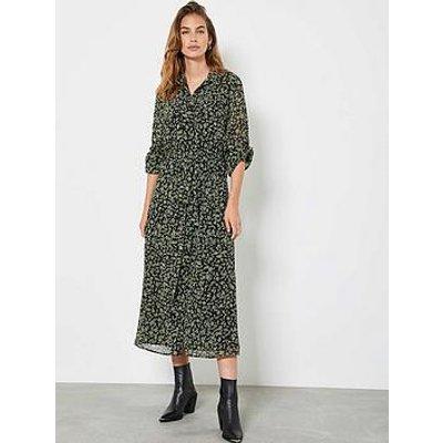 Mint Velvet Brooke Floral Print Midi Shirt Dress - Black