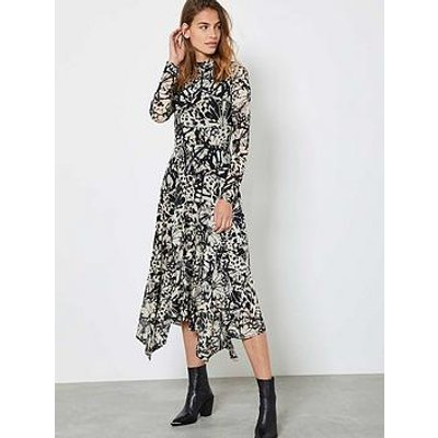 Mint Velvet Kelly Butterfly Print Trapeze Midi Jersey Dress - Neutral