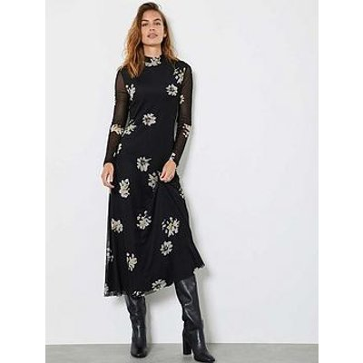 Mint Velvet Clara High Neck Column Midi Jersey Dress - Black