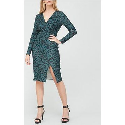 V By Very Printed Velvet Wrap Midi Dress - Animal Print