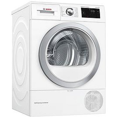 Bosch Wtwh7660Gb 9Kg Load, Heat Pump Tumble Dryer - White / Silver Door