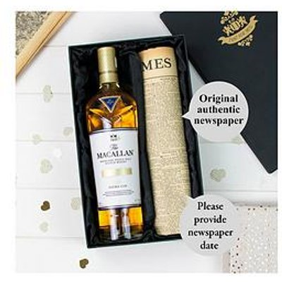 Signature Gifts Macallan Double Cask Gold Whisky And Original Newspaper Gift Set